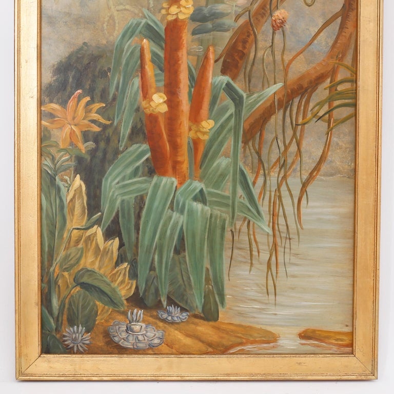 20th Century Pair of Tropical Oil Paintings on Board For Sale