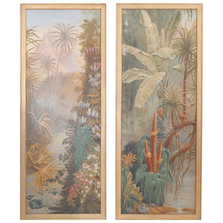 Pair of Tropical Oil Paintings on Board For Sale