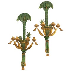 Pair of Tropical Style Polychrome and Giltwood Sconces