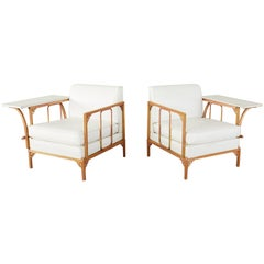 Pair of Troy Sunshade Armchairs with Removable Drink Tables