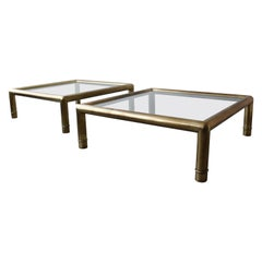 Pair of Tubular Brass Coffee Tables by Mastercraft