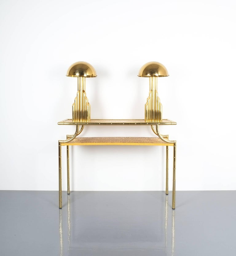 Mid-Century Modern Pair of Tubular Brass Pipe Table Lamps Attributed to Staff, Germany, 1960 For Sale