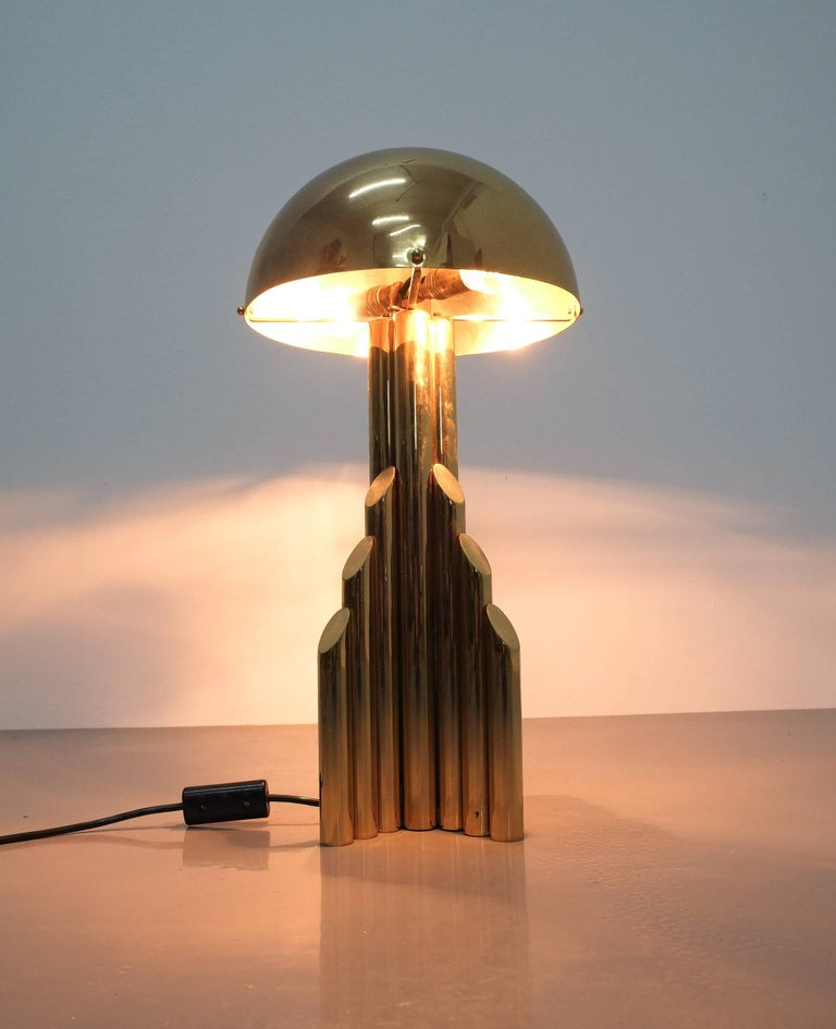 Mid-20th Century Pair of Tubular Brass Pipe Table Lamps Attributed to Staff, Germany, 1960 For Sale