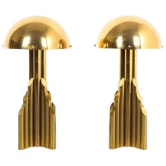Pair of Tubular Brass Pipe Table Lamps Attributed to Staff, Germany, 1960