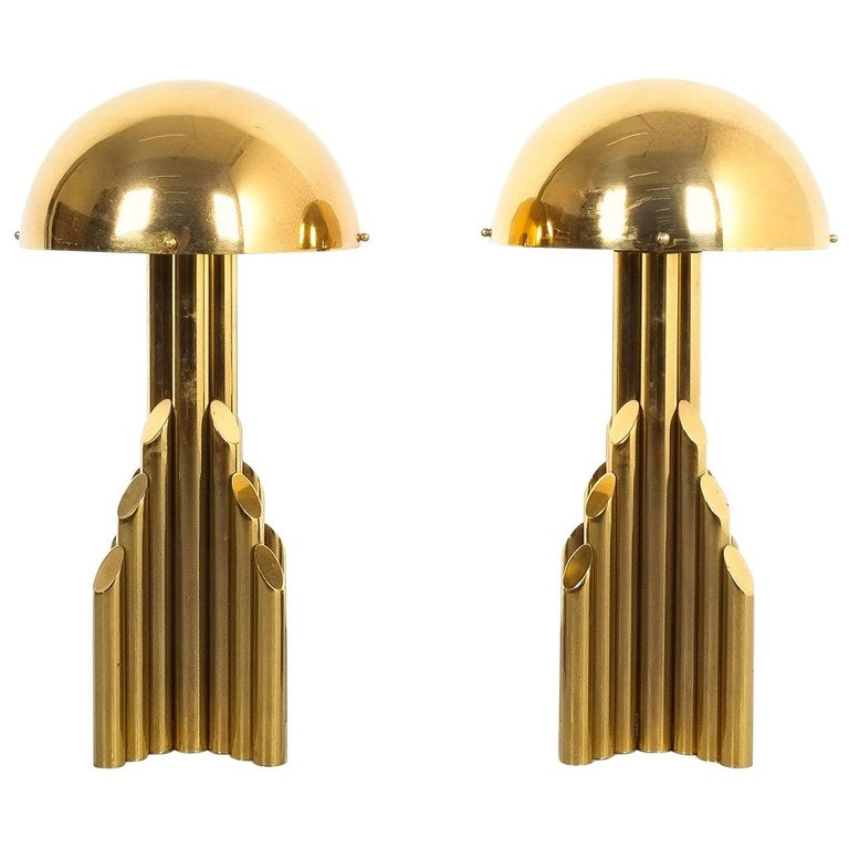 Pair of Tubular Brass Pipe Table Lamps Attributed to Staff, Germany, 1960 For Sale