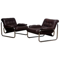 Pair of Tubular Chrome Brown Leather Lounge Chairs by Johan Bertil Häggström