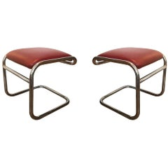 Pair of Tubular Chrome Footstools, USA, circa 1975