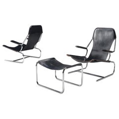 Pair of Tubular Lounge Chairs and Ottoman in Black Leather