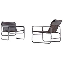 Pair of Tubular Lounge Chairs in Black Leather, 1960s