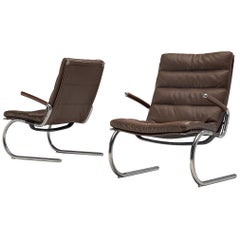 Pair of Tubular Lounge Chairs in Leather by Jørgen Kastholm