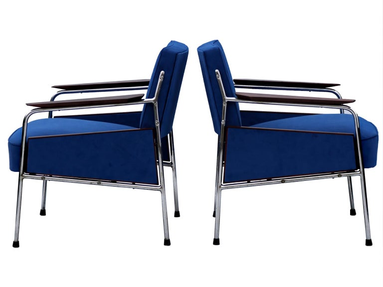 Bauhaus armchairs were produced in the 1930 s in Czechoslovakia. New upholstery, restored wooden parts and nickel-plated tubular steel construction in good original condition.