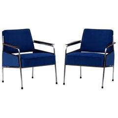 Pair of Art Deco Tubular Steel  Armchairs , New Upholstery, circa 1930
