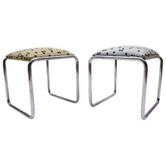 Pair of Tubular Steel Bauhaus Stools with Graphic Patterns, 1940s, Germany