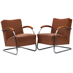 Pair of Tubular Steel Cantilever Armchairs Fn 21 by Mücke & Melder, circa 1930