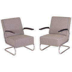 Pair of Tubular Steel Cantilever Armchairs in Art Deco, Chrome, New Upholstery