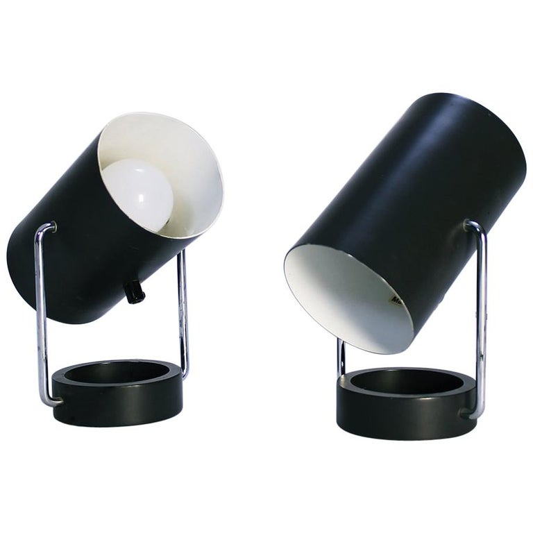 Pair of Tubus Table Lamps by Tulux in Style of Baltensweiler Swiss, 1960s For Sale
