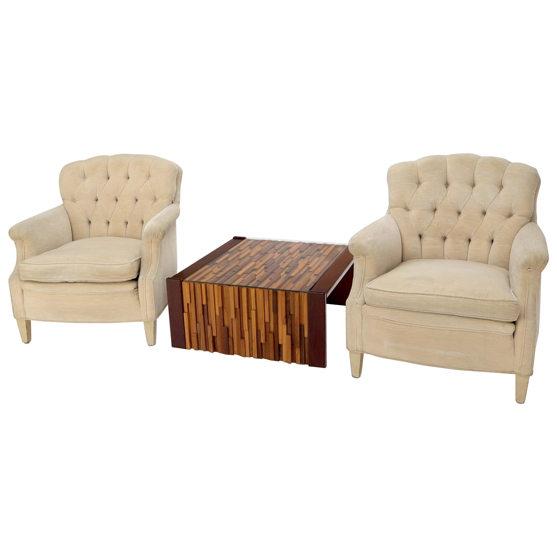Pair of Tufted Back Beige Velvet Upholstery Lounge Chairs
