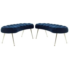 Pair of Tufted Benches in Deep Blue Mohair