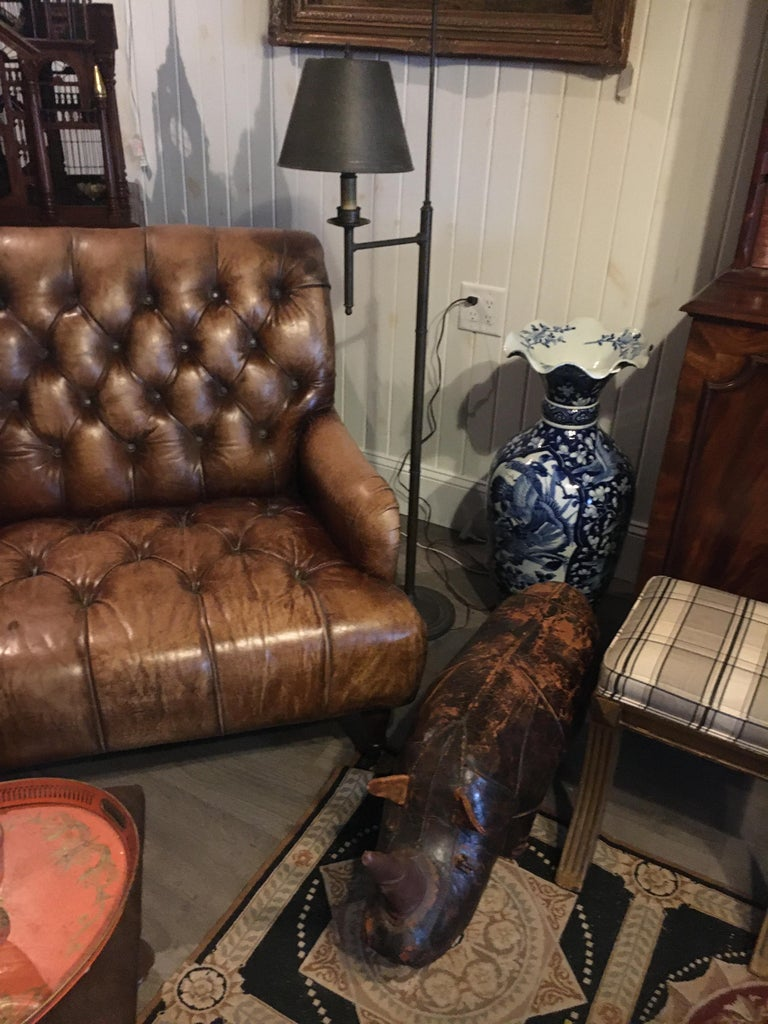 Georgian Single Tufted English Library Settees in Antiqued Leather. Great color, patina. For Sale