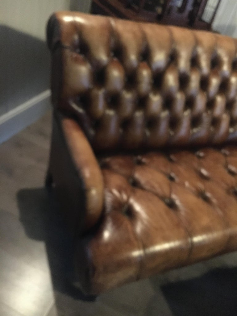 Single Tufted English Library Settees in Antiqued Leather. Great color, patina. For Sale 1