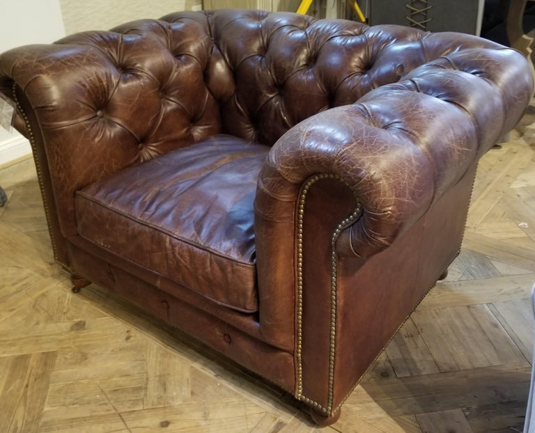 Single Tufted English Library Settees in Antiqued Leather. Great color, patina. For Sale 4