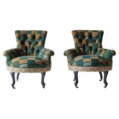 Pair of Tufted French Armchairs with Vintage Ewe and American Textiles