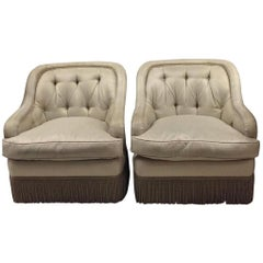 Pair of Tufted Fringe Trim Tufted Club Chairs