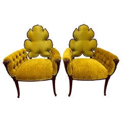Pair of Tufted Gold Velvet Mahogany Chairs Armchairs