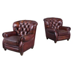 Pair of Tufted Leather Chairs