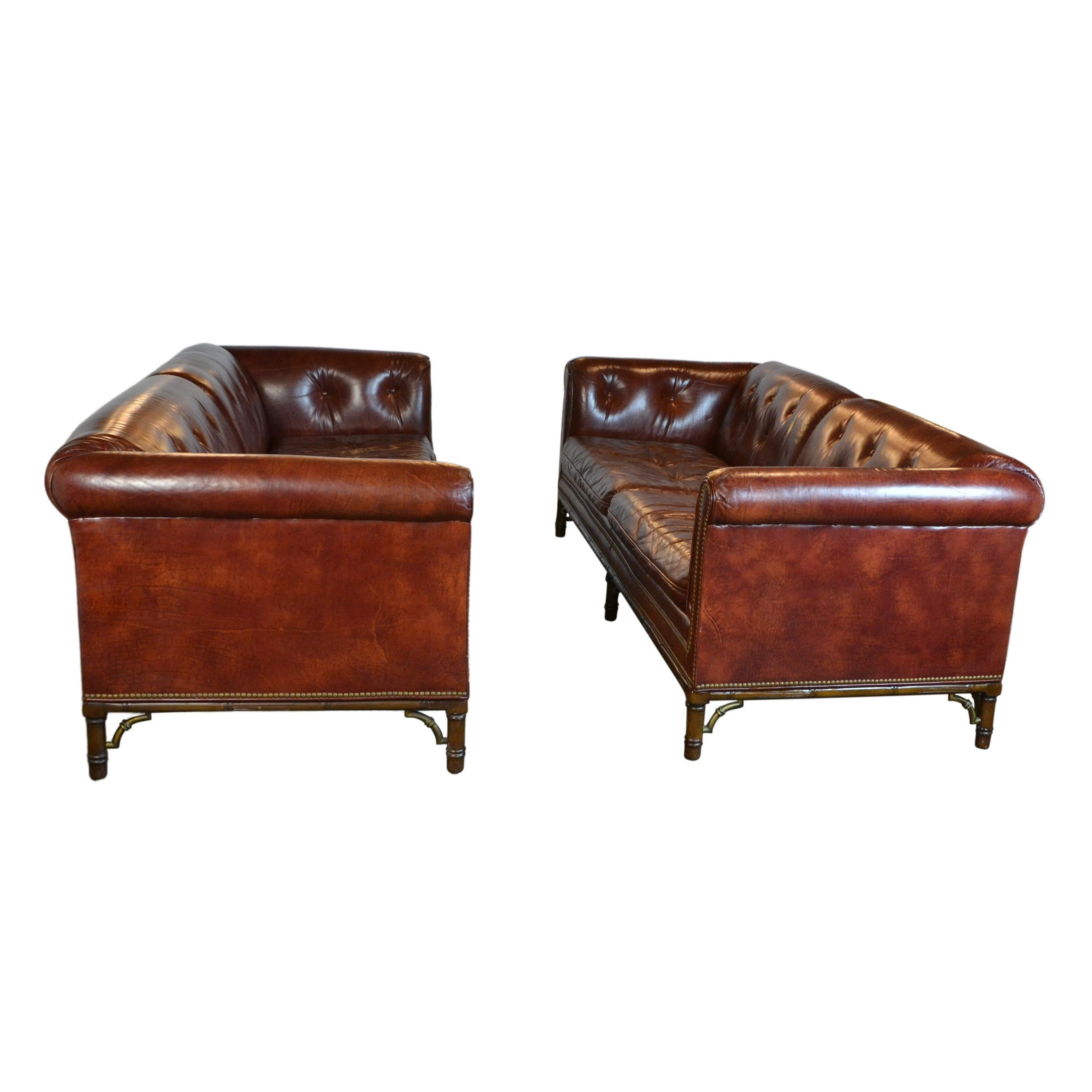 Pair of Tufted Leather Chesterfield Sofa's /Settee's