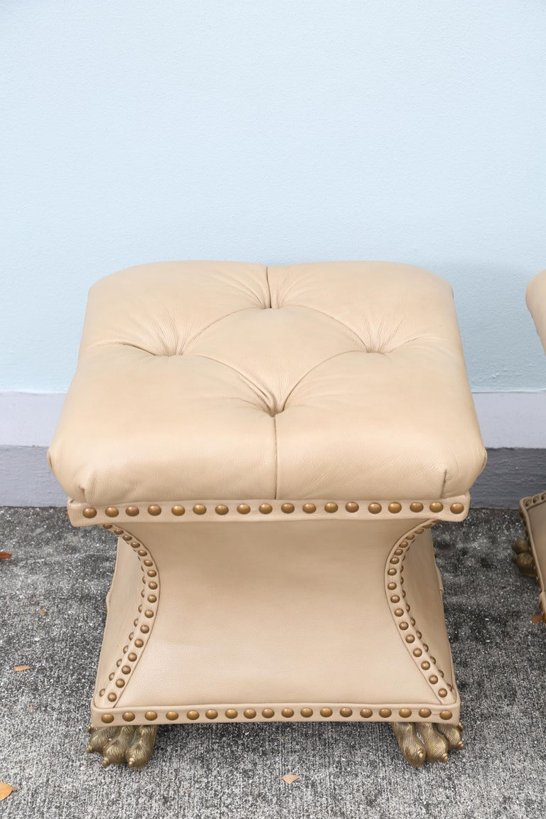 Pair of Tufted Leather Ottomans In Good Condition For Sale In West Palm Beach, FL