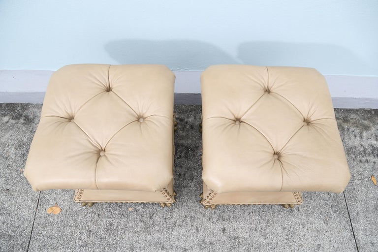 20th Century Pair of Tufted Leather Ottomans For Sale