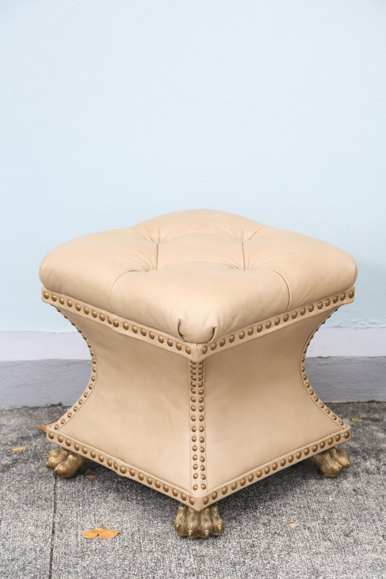 Pair of Tufted Leather Ottomans For Sale 1