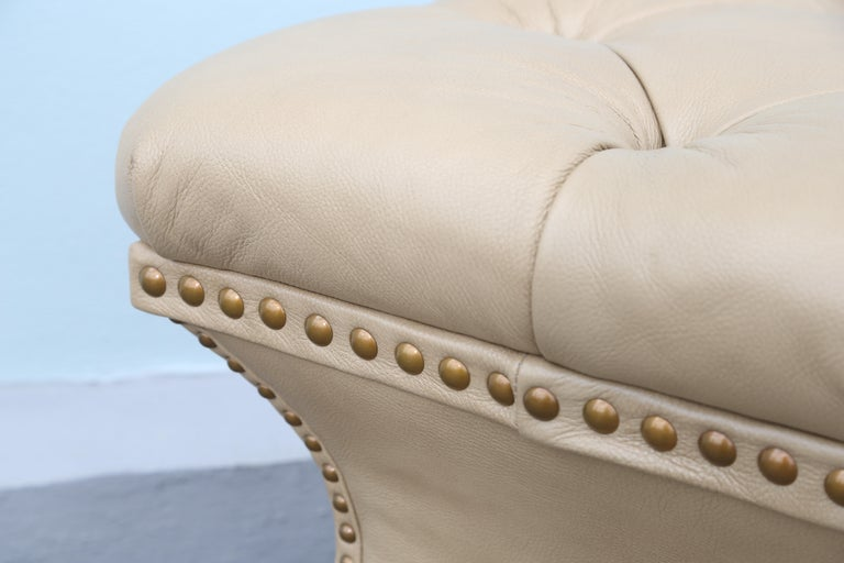 Pair of Tufted Leather Ottomans For Sale 3