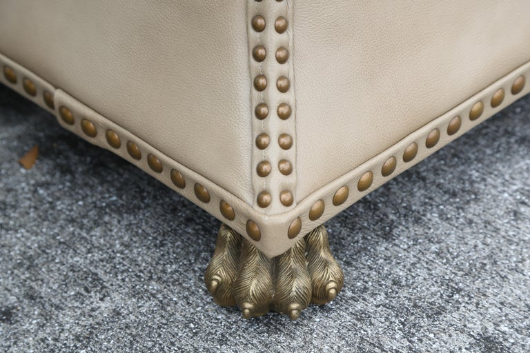 Pair of Tufted Leather Ottomans For Sale 4