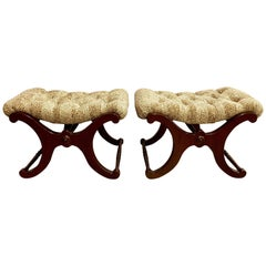 Pair of Tufted Leopard Print X Base Ottomans Benches