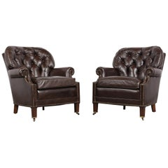 Pair of Tufted Regency Style Leather Club Chairs