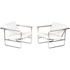 Pair of Tufted White Leather Lounge Chairs by Stendig