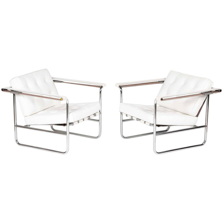Pair Of Tufted White Leather Lounge Chairs By Stendig For