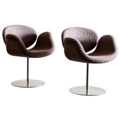 Pair of Tulip Chairs by Pierre Paulin in Alpaca Boucle