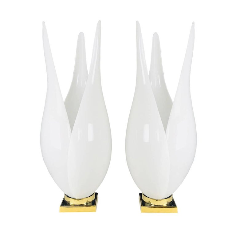 Pair of Tulip Lamps by Rougier