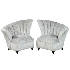 Pair of Tulip Style Channeled Back Parlor Living room Chairs