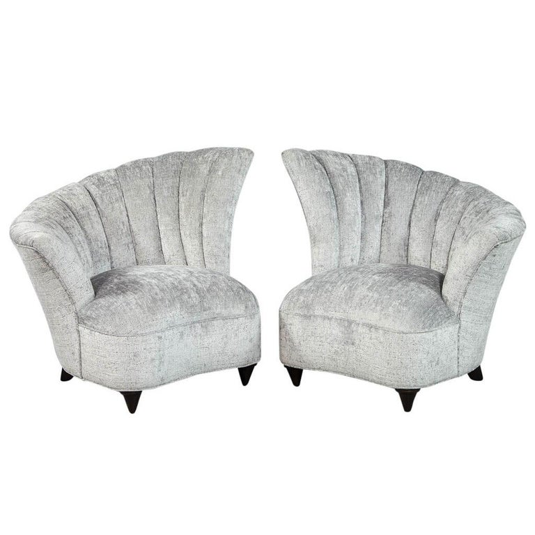 . Pair of Tulip Style Channeled Back Parlor Living room Chairs