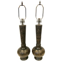 Pair of Turkish Brass Table Lamps