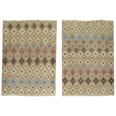 Pair of Turkish Deco Scatter Size Vintage Rugs