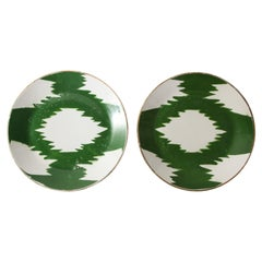 Pair of Turkish Green Ikat Porcelain Chargers, circa 1910