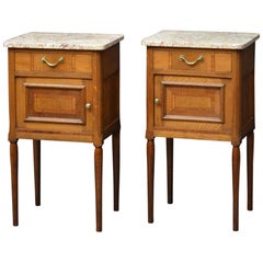 Pair of Turn of the Century Bedside Cabinets in Oak