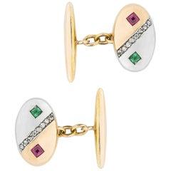 Pair of Turn-of-the-Century Gold Gemset Cufflinks