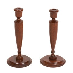 Pair of Turned Candlesticks in Mahogany