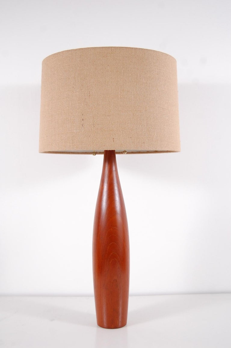 20th Century Pair of Turned Teak Lamps from Denmark For Sale